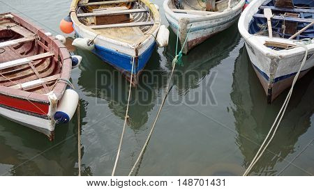 small fisher boats in palmeira harbor on sal island