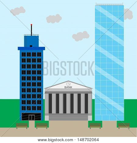 Financial business district. Office building cityscape and skyscraper. Vector illustration