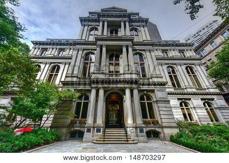 Boston, Massachusetts - September 5, 2016: Front of Old City Hall in Boston Massachusetts.