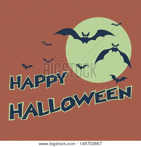 Halloween text. Bats on a background of a stylized image of the moon. Stock vector illustration.