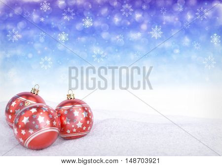 red christmas balls on snow with bokeh background - 3D render