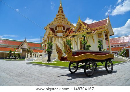 Bangkok, Thailand - August 7, 2016: Thai cart with serpents for carry casket to crematory in Debsirin temple