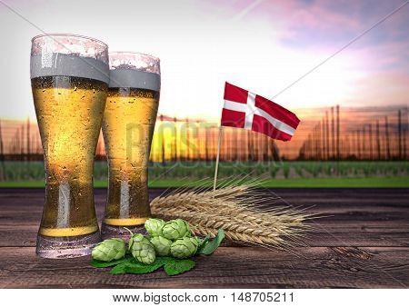 concept of beer consumption in Denmark - 3D render