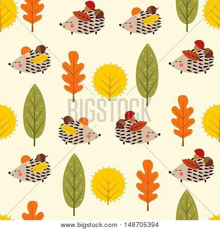 Hedgehog and decorative leaves seamless pattern. Autumn forest nature background. Baby hedgehog with trees vector illustration. Design for textile, wallpaper, fabric.