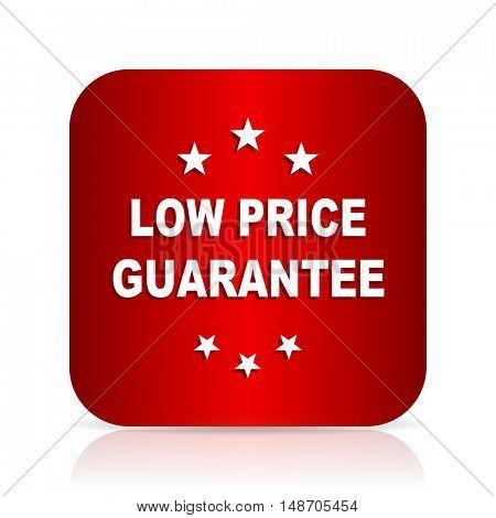 low price guarantee red square modern design icon