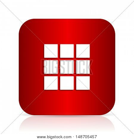 thumbnails grid red square modern design icon