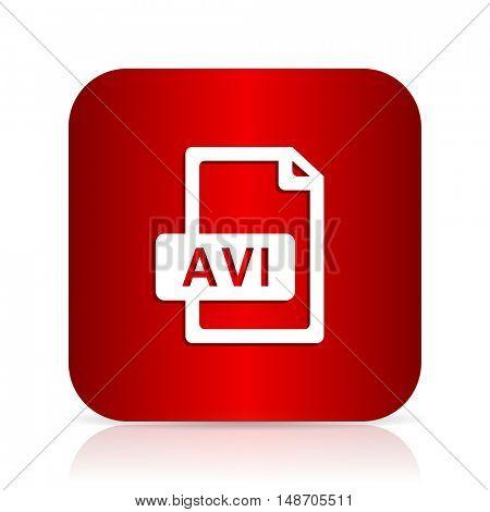 avi file red square modern design icon