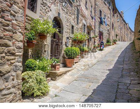 Beautiful street of captivating Cortona town in Tuscany Italy