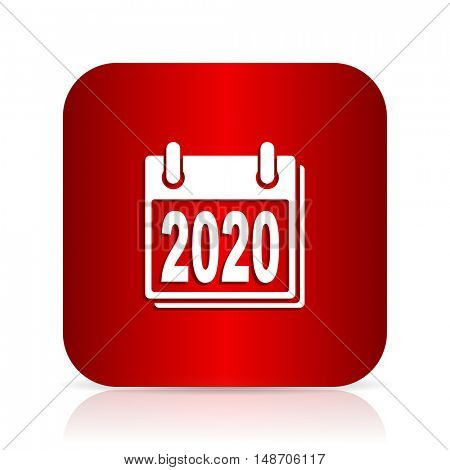 new year 2020 red square modern design icon
