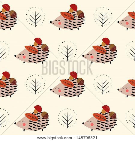Hedgehog with mushroom, acorn and tree seamless pattern. Cute cartoon nature background. Child drawing style hedgehog illustration. Autumn design for textile, wallpaper, fabric.
