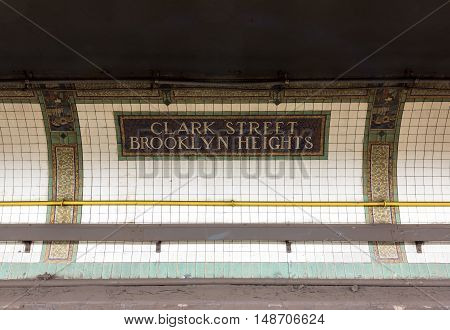 Brooklyn New York - September 11 2016: Clark Street Station in Brooklyn Heights of the New York City Subway Metropolitan Transit Authority.