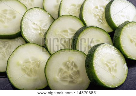 fresh cucumber slices green healthy detoxifying food