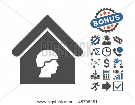 Barrack Building pictograph with bonus pictures. Vector illustration style is flat iconic bicolor symbols cobalt and gray colors white background.