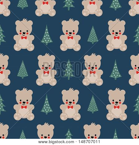Teddy Bear with Xmas Trees seamless pattern on dark blue background. Cute vector background with boy teddy bear and Christmas tree. Design for print on baby's clothes, textile, wallpaper, fabric.