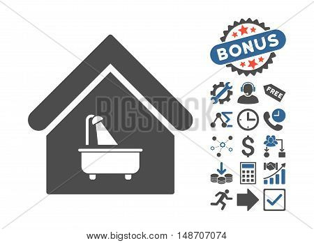Bathroom pictograph with bonus elements. Vector illustration style is flat iconic bicolor symbols cobalt and gray colors white background.