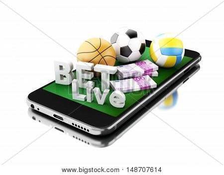3d renderer image. Smartphone with sport balls money and bet live. Betting concept. Isolated white background.