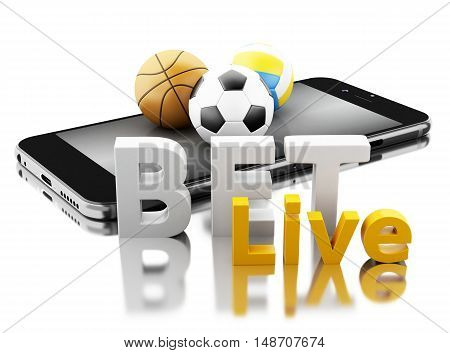 3d renderer image. Smartphone with sport balls and bet live. Betting concept. Isolated white background. poster
