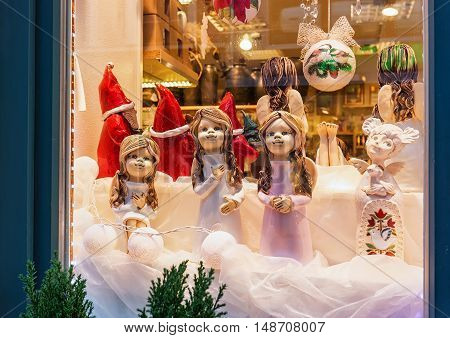 Angel Statues At The Shop Window In Christmas Riga