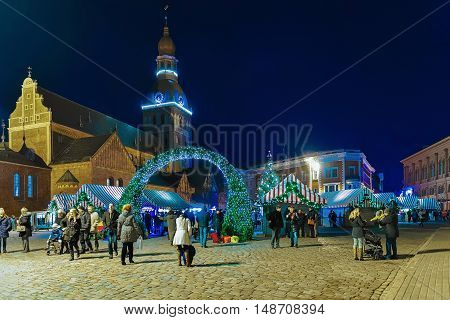 Entrance To The Christmas Market At Riga Cathedral