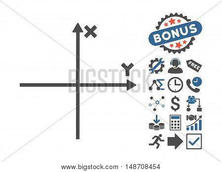 Cartesian Axes icon with bonus images. Vector illustration style is flat iconic bicolor symbols, cobalt and gray colors, white background.