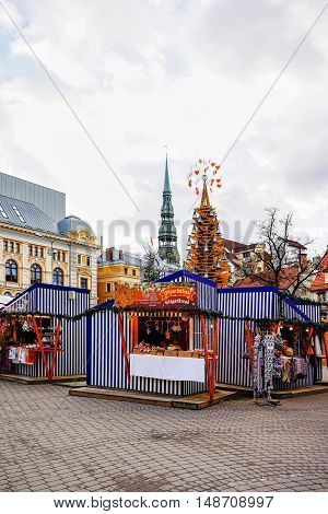 Riga Christmas Market With St Peter Church Steeple