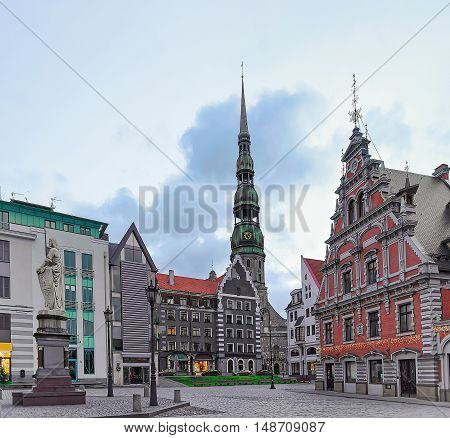 St Peter Cathedral And House Of Blackheads In Riga