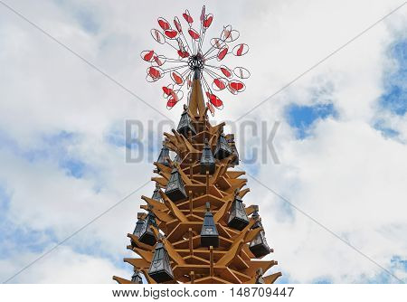 Wooden Christmas Tree In Riga Old Town