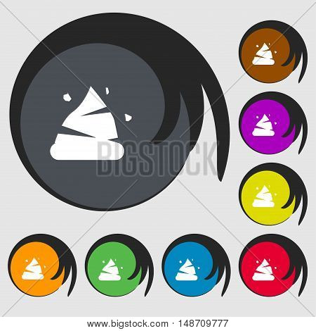 Poo Icon Sign. Symbols On Eight Colored Buttons. Vector