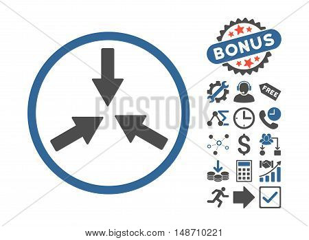 Collide Arrows icon with bonus symbols. Vector illustration style is flat iconic bicolor symbols, cobalt and gray colors, white background.