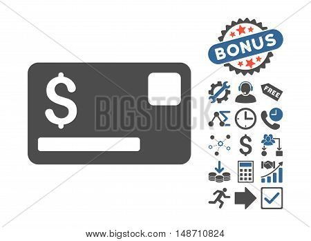 Credit Card icon with bonus clip art. Vector illustration style is flat iconic bicolor symbols, cobalt and gray colors, white background.