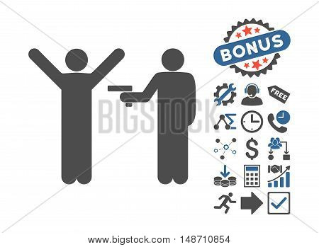 Crime Robbery icon with bonus pictogram. Vector illustration style is flat iconic bicolor symbols, cobalt and gray colors, white background.