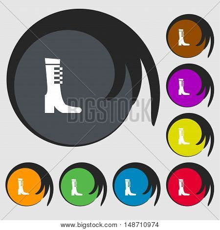 Female Fall And Winter Shoe, Boot Icon Sign. Symbols On Eight Colored Buttons. Vector