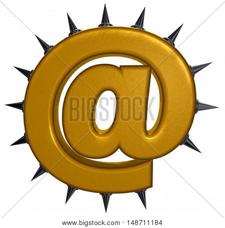 email symbol with prickles on white background- 3d illustration