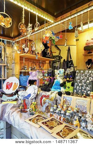 Different Small Souvenirs And Accessories At The Riga Christmas Market