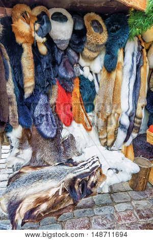 Stall With Animal Skin Products At The Riga Christmas Market