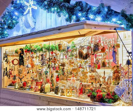 Stall With Various Souvenirs At Vilnius Christmas Market