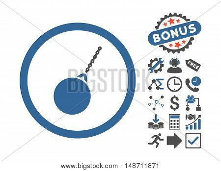 Destruction Hammer pictograph with bonus pictures. Vector illustration style is flat iconic bicolor symbols cobalt and gray colors white background.