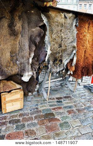 Animal Fur On Display At The Riga Christmas Market