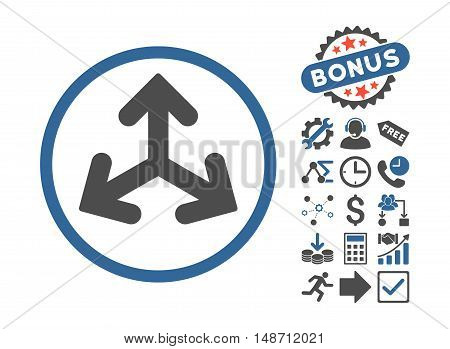 Direction Variants icon with bonus icon set. Vector illustration style is flat iconic bicolor symbols cobalt and gray colors white background.