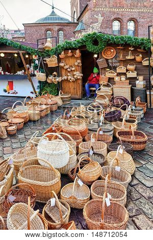 Christmas Market Stall With Straw Baskets For Sale In Riga