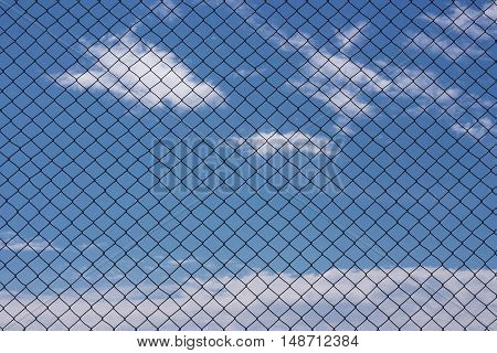 Chain link fence sky clouds metal chain