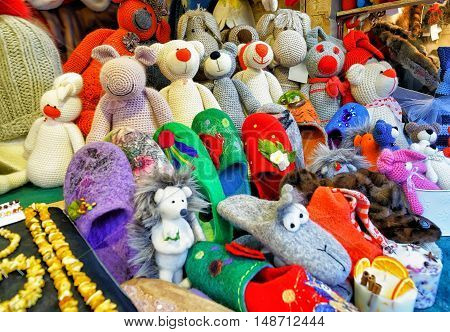 Handmade Animal Toys At The Stall During Riga Christmas Market