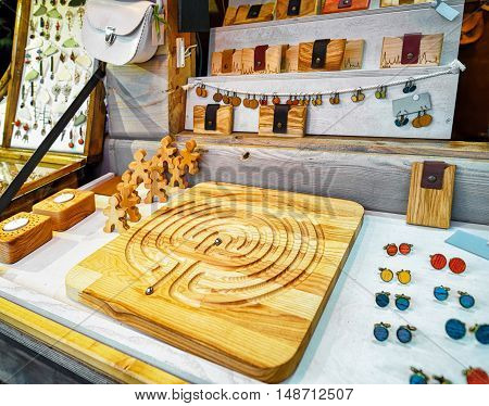 Handmade Wooden Cufflinks And Board Game At Riga Christmas Market