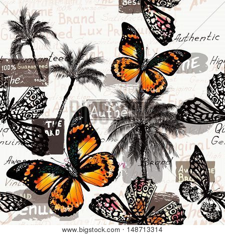 Beautiful pattern with butterflies and palm trees for design