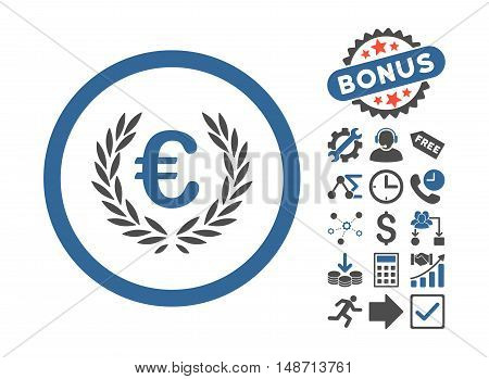Euro Glory icon with bonus clip art. Vector illustration style is flat iconic bicolor symbols, cobalt and gray colors, white background.