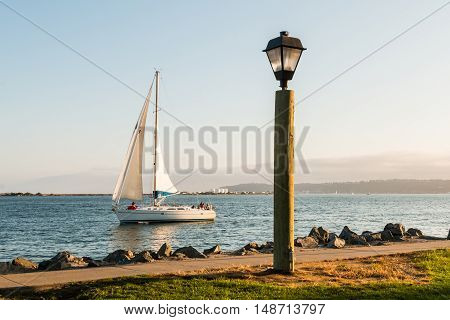 Lamp on Harbor Island with sail boat in San Diego Bay.