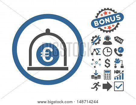 Euro Standard pictograph with bonus pictures. Vector illustration style is flat iconic bicolor symbols, cobalt and gray colors, white background.