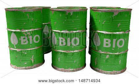 dirty worn scratched green bio oil barrels isolated on white
