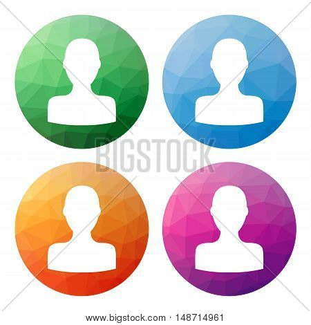 Set  Of 4 Isolated Modern Low Polygonal Buttons - Icons - For Person (social, User, Profile)