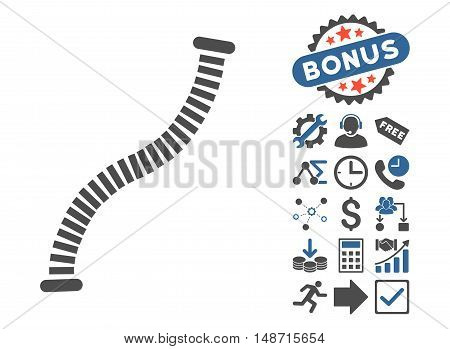 Flexible Pipe icon with bonus pictograph collection. Vector illustration style is flat iconic bicolor symbols, cobalt and gray colors, white background.